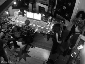 ManRaze session as viewed from the control-room balcony, Z-Noise Studios. (Thanks to Helen).